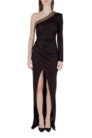 Balmain Black Stretch Knit Crystal Embellished Draped One Shoulder Evening Gown S