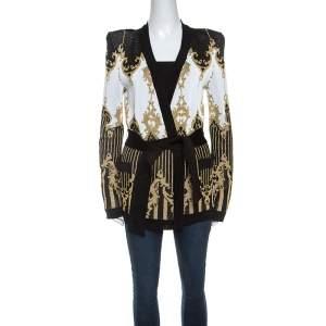 Balmain Black and Gold Jacquard Knit Cardigan M