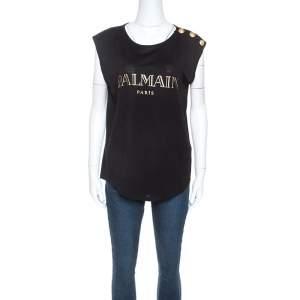 Balmain Black Cotton Shoulder Logo Button Detail Sleeveless T-Shirt M