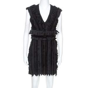 Balmain Black Cotton Fringe Detail Mini Dress M