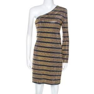 Balmain Gold Crystal Embellished Striped One Shoulder Mini Dress L