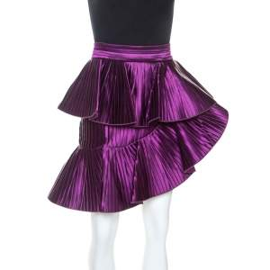 Balmain Purple Satin Pleated Asymmetric Ruffled Mini Skirt S