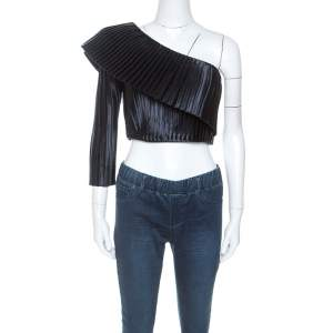 Balmain Midnight Blue Satin Pleated One Shoulder Crop Top S