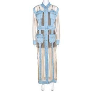 Balmain Bicolor Sheer Silk Panelled Denim Trim Shirt Dress L