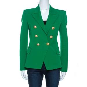 Balmain Green Modal Blend Double Breasted Jacket M
