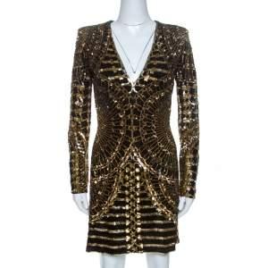 Balmain Gold & Black Sequin Embellished Mini Dress S