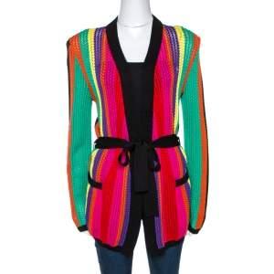 كارديغان بالمين تريكو مخطط متعدد الألوان بحزام مقاس متوسط (ميديوم)
