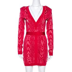 Balmain Red Moire Jacquard Knit Mini Dress M