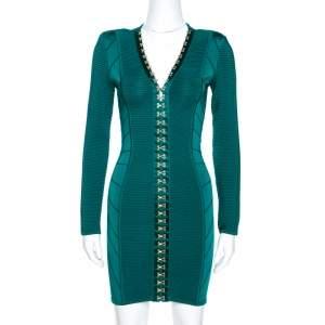 Balmain Green Rib Knit Hook & Eye Detail Mini Dress S