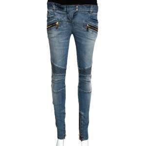Balmain Blue Denim Zip Detail Skinny Jeans S