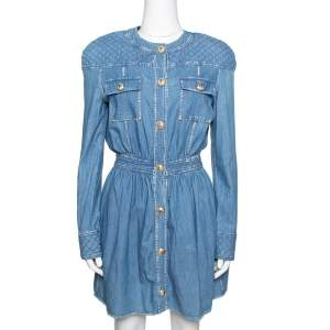 Balmain Blue Quilted Denim Long Sleeve Dress S