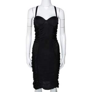 Balmain Black Stretch Knit Ruched Bustier Dress M