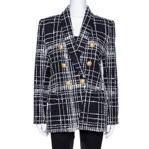 Balmain Monochrome Tweed Double Breasted Blazer M