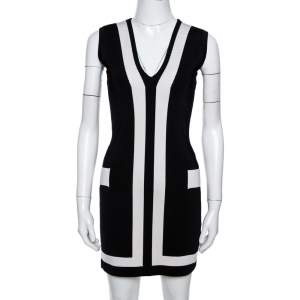 Balmain Black Stretch Knit Contrast Trim Sleeveless Bodycon Dress M