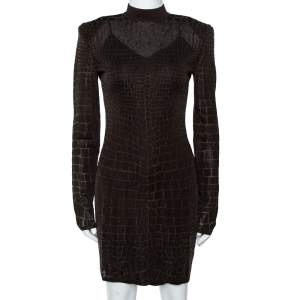 Balmain Brown Crocodile Effect Knit Fitted Mini Dress S