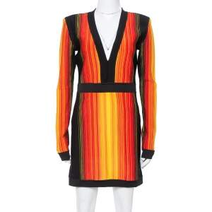 Balmain Multicolor Striped Knit Long Sleeve Mini Dress L