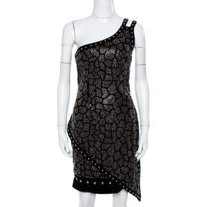 Balmain Black Velvet Stud Embellished One Shoulder Mini Dress L
