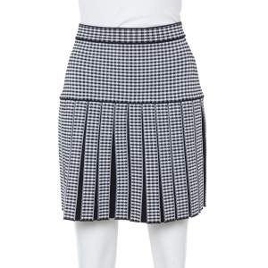 Balmain Monochrome Gingham Knit Pleated Structured Skirt S