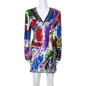 Balmain Multicolor Abstract Sequin Embellished Fitted Mini Dress L