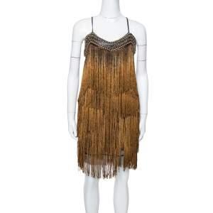 Balmain Gold Fringed Stud Embellished Fitted Mini Dress M