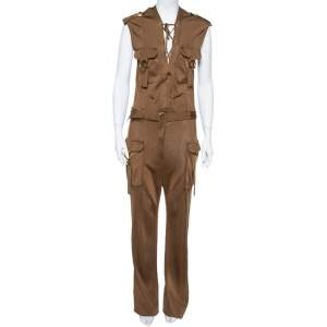 Balmain Metallic Brown Stretch Knit Sleeveless Safari Jumpsuit L
