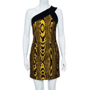Balmain Black & Gold Jacquard Stripe One Shoulder Mini Dress M