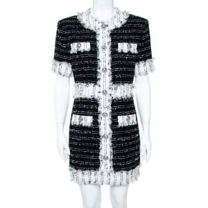 Balmain Monochrome Cotton Blend Tweed Mini Dress L