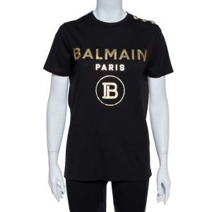 Balmain Black Cotton Knit Metallic Logo Print T-Shirt M