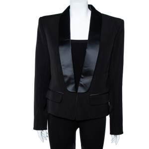 Balmain Black Wool Satin Lapel Tailored Blazer XL