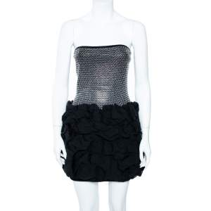 Balmain Black Crystal Embellished Strapless Ruffle Mini Dress M