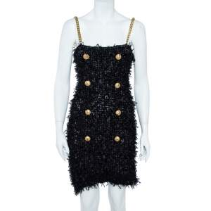 Balmain  Black Tweed Mini Dress M