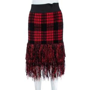 Balmain Red/Black Checkered Tweed Fringe Skirt M