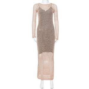 Balmain Brown Crochet Long Sleeveless Maxi Dress S