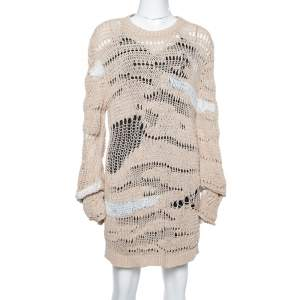 Balmain Beige & White Distressed Linen Knit Crew Neck Sweater M
