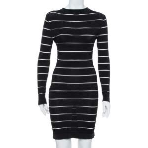 Balmain Black Paneled Knit Long Sleeve Bodycon Dress M