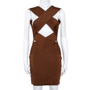 Balmain Brown Knit Crossover Detail Bodycon Dress M
