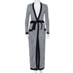 Balmain Monochrome Houndstooth Patterned Knit Belted Long Cardigan S