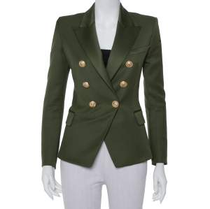 Balmain Army Green Wool Double-Breasted Blazer S