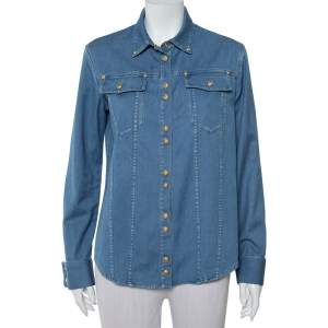 Balmain Blue Denim Gold Button Detail Long Sleeve Shirt M