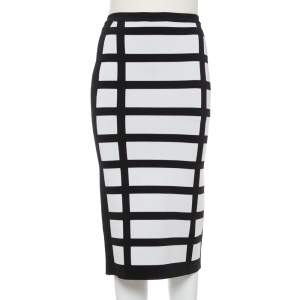 Balmain Monochrome Block Patterned Knit High Waist Midi Skirt M