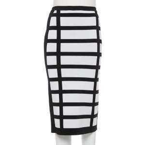 Balmain Monochrome Block Patterned Knit High Waist Midi Skirt M
