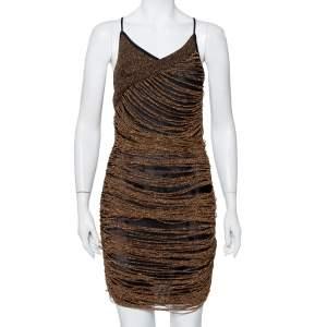 فستان ميني بالمان بلا أكمام تفاصيل شراشيب شبك ذهبي مقاس متوسط