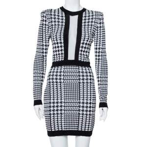 Balmain Monochrome Houndstooth Pattern Knit Mini Dress M