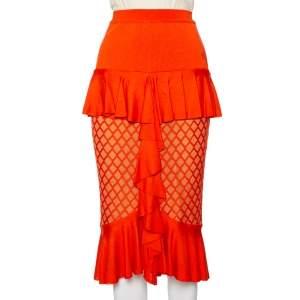 Balmain Orange Knit Ruffled Midi Skirt M