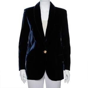 Balmain Navy Blue Velvet Button Front Blazer M