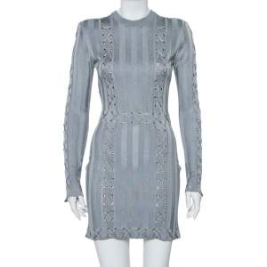 Balmain Grey Knit Lace Up Detail Mini Dress M