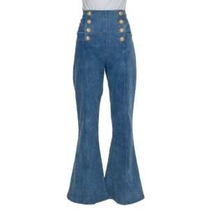 Balmain Blue Denim High Waist Paneled Bootcut Jeans L