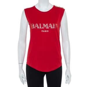 Balmain Red Logo Printed Cotton Shoulder Button Detail Sleeveless T-Shirt S