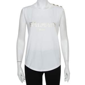 Balmain White Logo Printed Cotton Shoulder Button Detail Sleeveless T-Shirt M