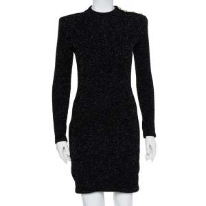 Balmain Black Lurex Knit Shoulder Button Detail Mini Dress M